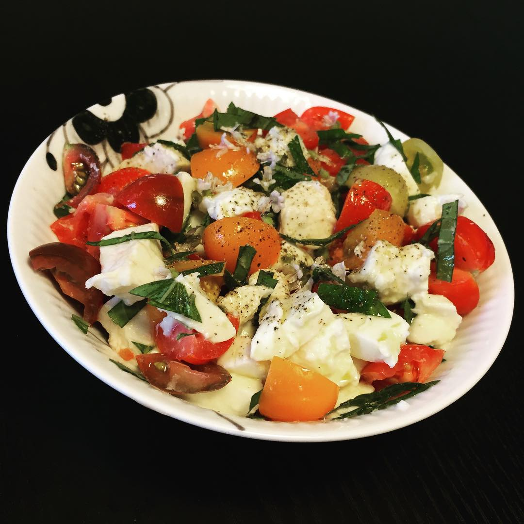 caprese salad from heirloom tomatoes