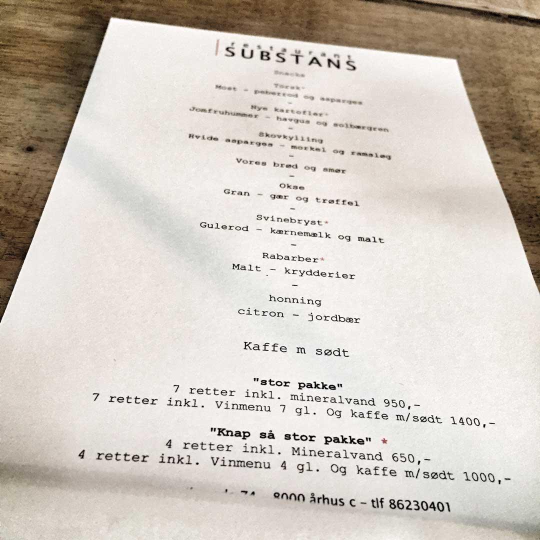 Substans menu