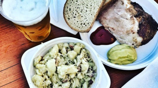 prague ham beer and halusky