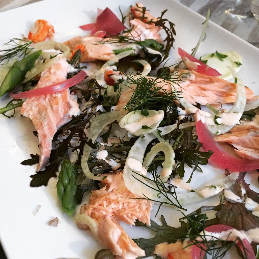 baked salmon and crayfish at smækker lækker