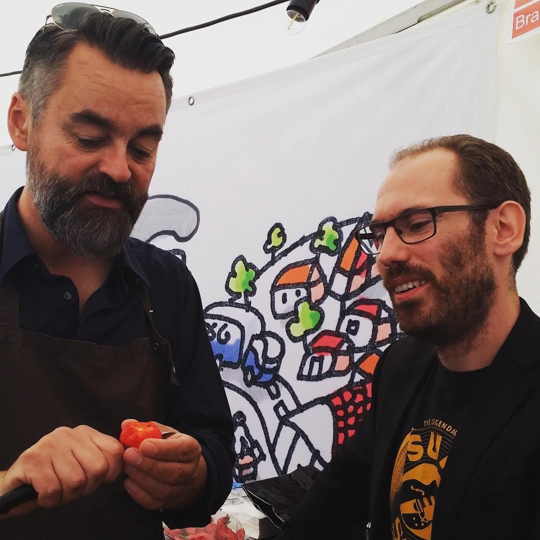 Chili Klaus and Johan eating Infinity Chili at Food Festival