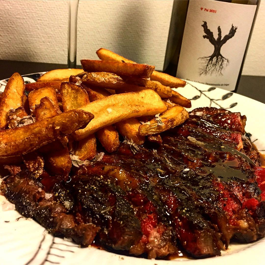 Steak frites with Demi-glace