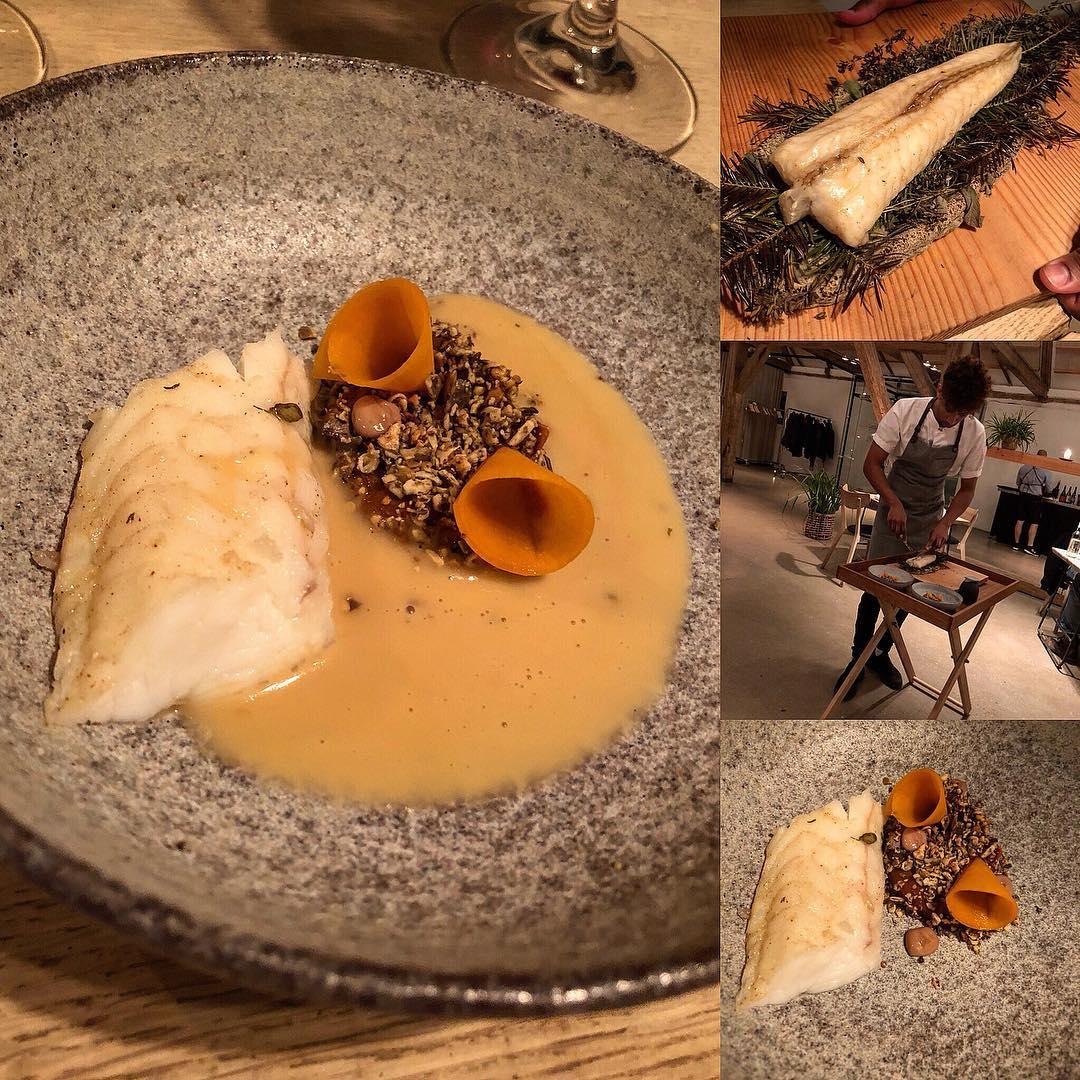 monkfish, havgus cheese and textures of pumpkin - dish at restaurant substans