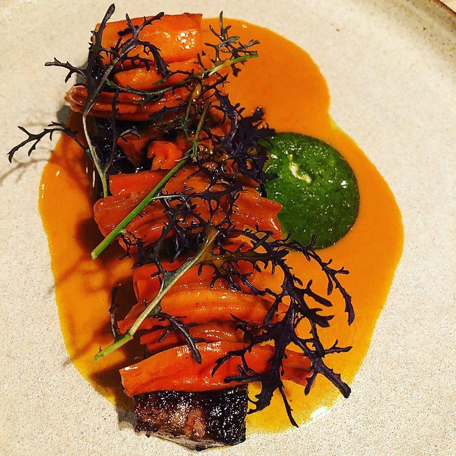 bbq pork belly - main dish at restaurant substans