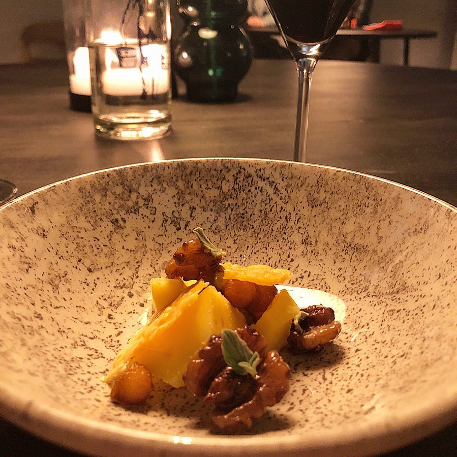 cheese, walnuts. pear and oregano - cheese course at Bror Ditlev Kolding