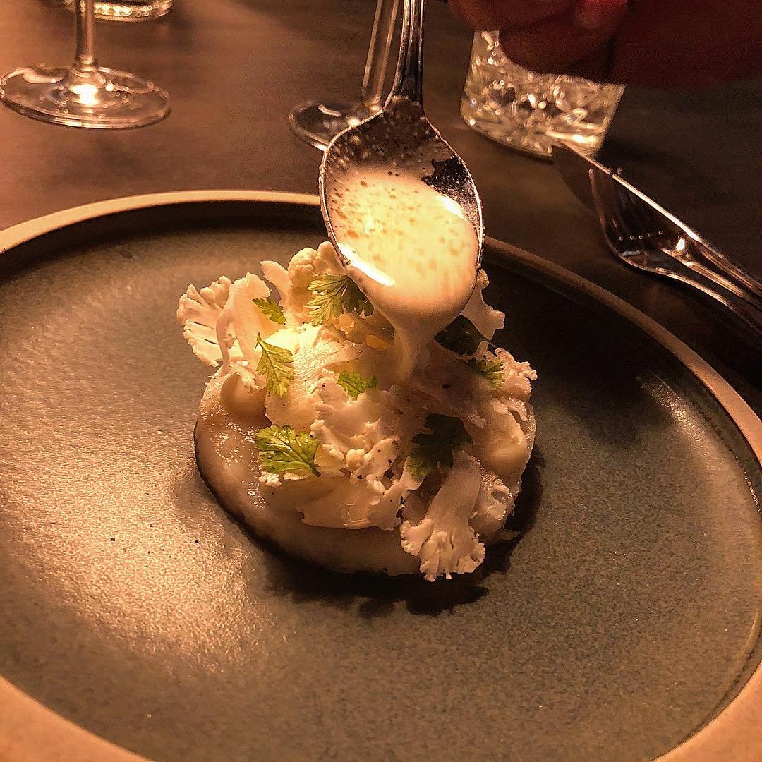 Cod, cauliflower and almonds - fish course at Bror Ditlev Kolding